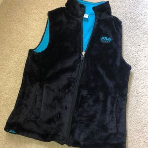 Fila fuzzy zip up vest